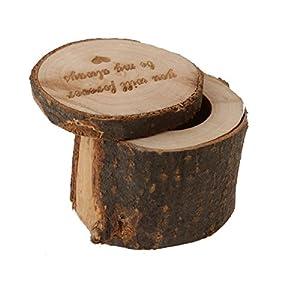 Pixnor Premium-Shabby Chic Holz Ringkissen Schmuckschachtel Ringetuis Ringbox Ringschachtel Verpackung für Hochzeit Ringe
