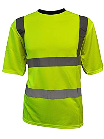 Mens Hi-Vis Viz Visibility Round Crew Neck Yellow Orange Work T Shirt (XL, Yellow)