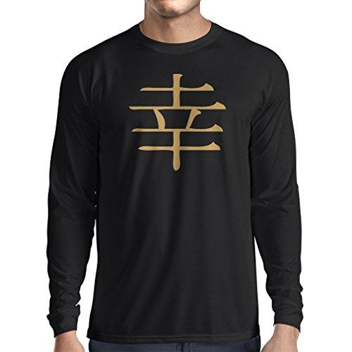 lepni.me Langarm Herren t Shirts Glücklogogram - Chinesisches/Japanisches Kanji-Symbol (Small Schwarz Gold) (Langarm-jagd-t-shirt Logo)