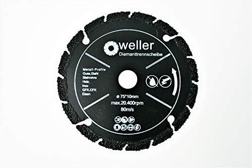 Allesschneideblatt Diamanttrennscheibe passend für BOSCH GWS 10,8 12 12V 76 V-EC Professional Akku Winkelschleifer Metall Guss Kunststoff Aluminium Holz Stein