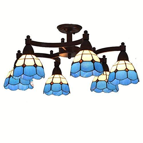 Rustikale Kupfer-log (ZHANG NAN ● Mediterranean Metal Rocker Arms Wohnzimmer Kronleuchter Arbeitszimmer Tiffany Glas Lampenschirm Deckenleuchte Tagungsraum Land Rustikale Deckenleuchten ●)