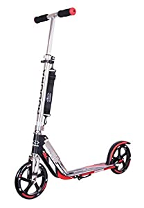 HUDORA Big Wheel Scooter RX 205 - Das Original, Tret-Roller klappbar - City-Scooter - 14724, schwarz/rot