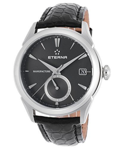 Eterna Men's Soleure 43mm Black Genuine Alligator Band Steel Case Automatic Analog Watch 7680-41-41-1175