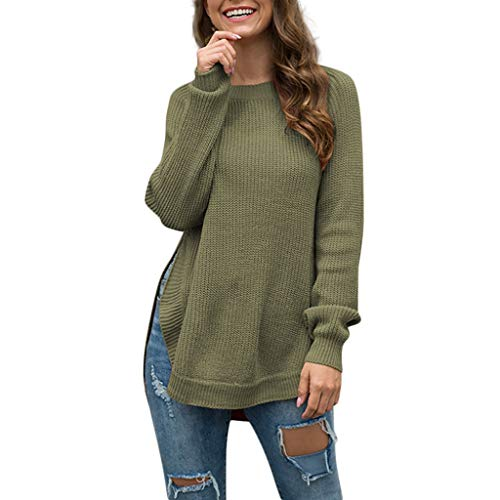 Womens Sweater Sale BOIYI Long Sleeve Round Neck Solid Slit Casual Loose Pullover Jumper Tops (Green,L) -