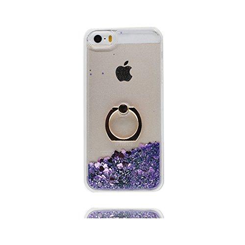 iPhone 5S Custodia, 3D Bling che scorre liquido scintillante disegno rigido TPU indietro ring supporto Case Cover Copertura per iPhone 5 SE 5G - Disney sirena - Graffi Resistenti # 10