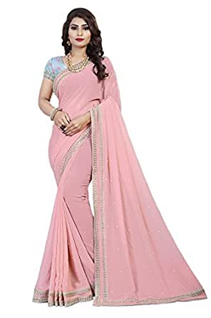 Ethnic Wings Faux Georgette Saree With Blouse Piece (Eww_10660_Pink_Free Size)