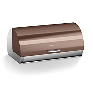 Morphy Richards Accents Roll Top Bread Bin, Stainless Steel, Copper