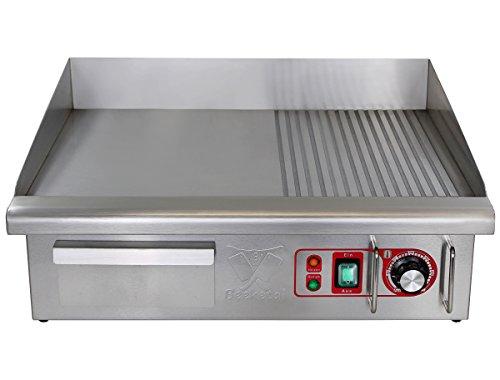 Beeketal 'BGP-IV' Profi Gastro Gusseisen Grillplatte elektrisch mit 55 x 36,5 cm Grillfläche (glatt & geriffelt), stufenlos 50-300 °C (3000W), Elektrogrill mit Spritzschutz und Fett Auffangbehälter