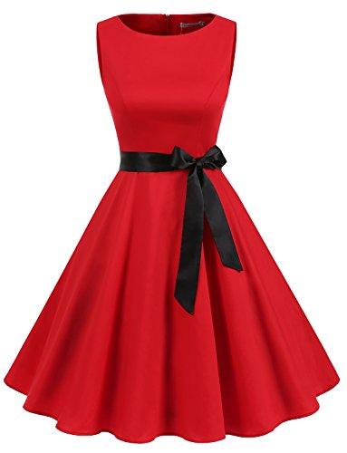 Gardenwed Damen Vintage 1950er Partykleid Rockabilly Ärmellos Retro Cocktailkleid Red S