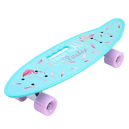 """ENKEEO Skateboard Mini Cruiser Retro Komplettboard 57cm 22\"""" Board mit stabilen Deck 4 PU-Rollen für Kinder, Jugendliche und Erwachsene"""