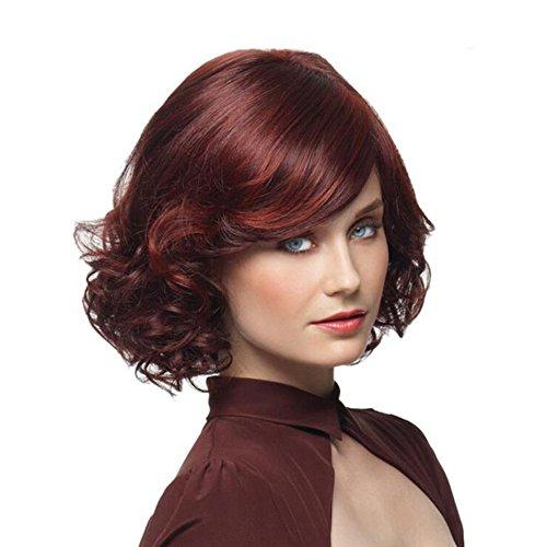 Beatayang Nouvelle Perruque Femme Vin Rouge Cheveux Courts