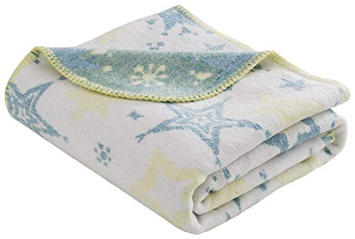 Babydecke/Kuscheldecke für Babys, Baumwollmischgewebe, 100x120 cm, Grünblau/Gelb - Sterne