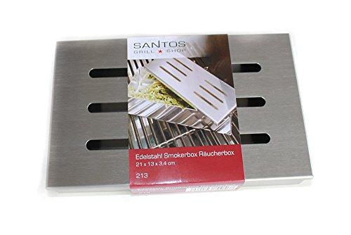 41bml QXtzL - Santos Smokerbox Räucherbox Edelstahl Grillzubehör für Gasgrill, Kohlegrill und Kugelgrill  Aromabox Maße 21x13x3,4 cm