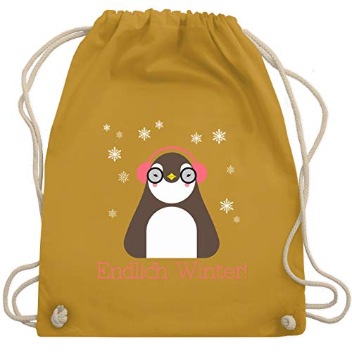 Wintersport - Endlich Winter Pinguin kalt - Unisize - Senfgelb - WM110 - Turnbeutel & Gym Bag
