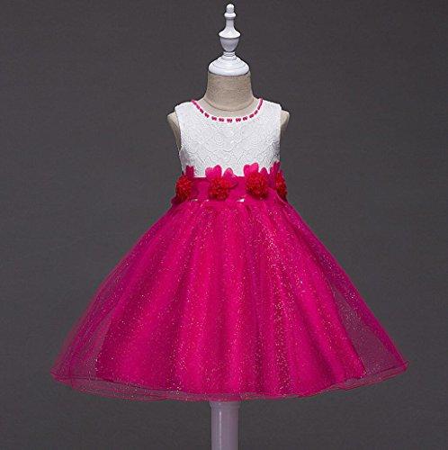 Mädchen Partei Blume Kleider Prinzessin Organza Blume Tutu Hochzeit Festzug Kleid Kleid 3-15 Jahre , fuchsia , (Organza Tutu Fuchsia Mädchen)