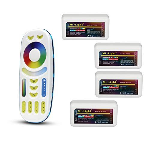 LIGHTEU®, Milight Remote Control Kit: Packung mit 4 x 4-Zonen-RGBCCT-RF-Controllern mit 1 x drahtloser 4-Zonen-LED-RGBWCCT-Fernbedienung mit 4 x Fut039 + fut092