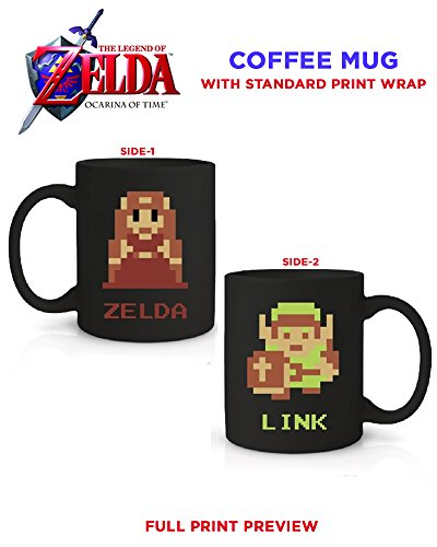 lda Kaffeebecher aus Keramik die 8Bit Artwork bedruckt (Legend Of Zelda Triforce Helden Kostüme)