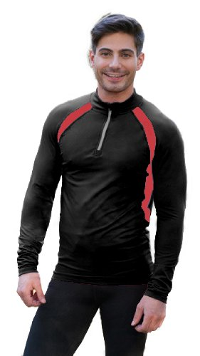 CONA Cross Thermo Top - Unisex - A maniche lunghe, Biancheria intima termica in 6 varianti di colore disponibili, black/ flame red, XL
