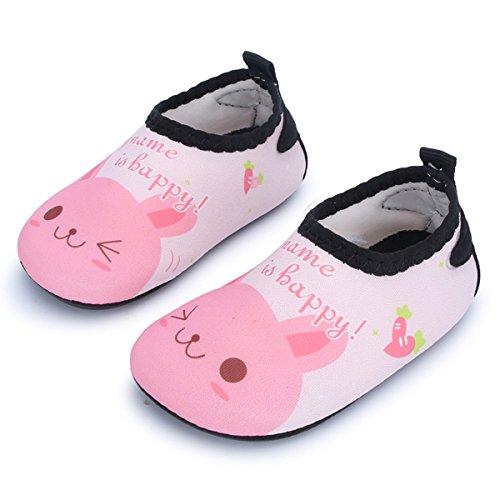 JIASUQI Baby und Kinder Athletische Turnschuhe Barfuß Wasser Schuhe für Strand Schwimmen Pool, Pinke Katze 6-12 Monate