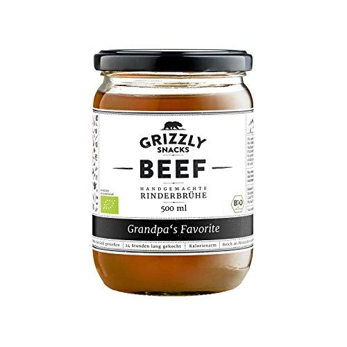 Grizzly Snacks Kraftbrühe aus Deutschland im Set (6x500ml) 3xRind, 3xHuhn Wertvolle Nährwerte Collagen, Protein Knochenbrühe