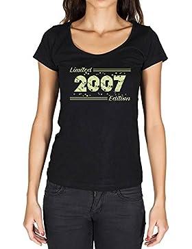 2007 Limited Edition Star Mujer Camiseta Negro Regalo De Cumpleaños