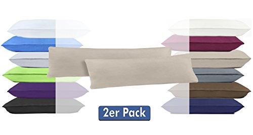 Doppelpack Serie Jersey Kissenbezüge mit Reißverschluss aus 100% Baumwolle in 12 modernen Farben und 4 Größen (40 x 145 cm (Stillkissenbezug), Sand)