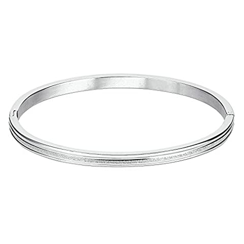 KnSam Stainless Steel Cuff Bracelets for Womens One Wave Hinged