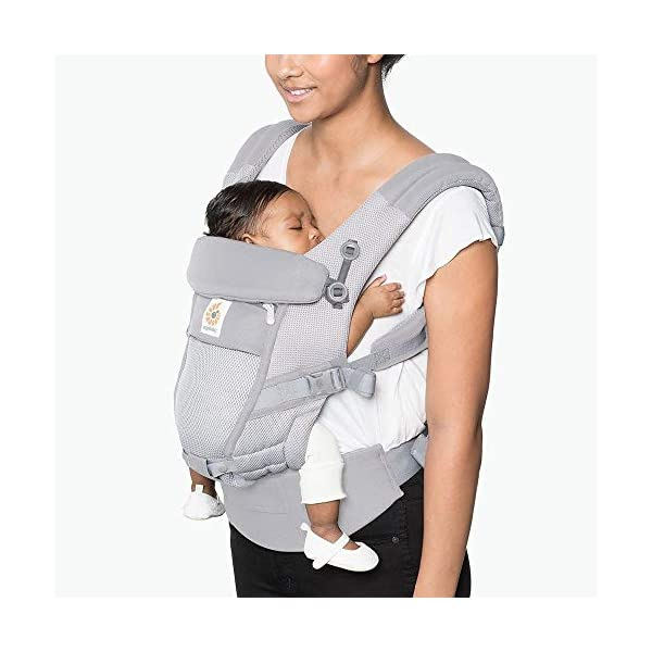 Ergo Baby Ergobaby Original Adapt Cool Air Mesh Baby Carrier Pearl Grey Ergobaby Baby Carrier for newborns – The ergonomic bucket seat gradually adjusts to your growing baby, to ensure baby is seated in a natural frog-leg position (M-shape position) from birth to toddler (3.2 to 20kg / 7-45lbs). NEW – Now with lumbar support. Long-wearing comfort for parents with even weight distribution between hips and shoulders. Lumbar support waistbelt that can be adjusted to the height of the carry position for extra, long-wearing comfort. Adapt 3carry positions: front-inward, hip and back. The carrier has a padded, foldable head and neck support and a tuck-away baby hood for sun protection (UPF50+) and privacy. It is possible to breastfeed in the carrier. 2
