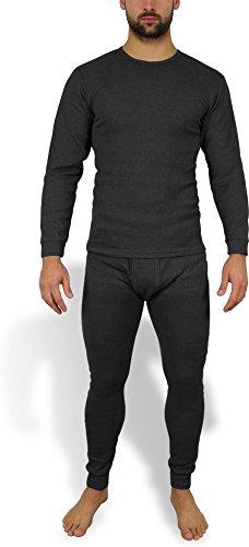 Wärmende Herren Thermounterwäsche - Thermohemd und Thermohose - Ski- und Sport Unterwäsche Farbe Anthrazit Größe XL