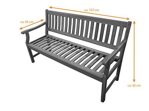 SAM® Akazie-Sitzbank New Jersey, massive Gartenbank für bis zu 3 Personen, Holzbank mit Armlehnen ideal für Garten Terrasse Balkon und Wintergarten, FSC® 100% zertifiziert - 6