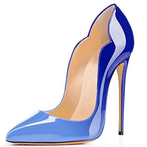 uBeauty Damen High Heels Stilettos Slip-On Pumps Spitze Zehen Klassischer Übergröße Schuhe Blau-Mehrfarbig 37 EU