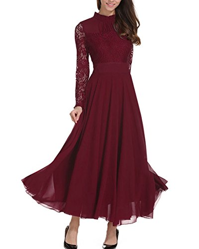 Aox Damen Classy Langarm Crochet Lace Patchwork A-Linie Chiffon Swing Kleid Schönheit Empire Party Brautjungfer Maxi Kleid Vestidos (46, Dunkelrot) (ärmeln Mit Empire-kleid)