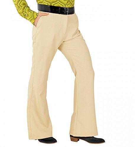 70er Jahre Retro Herren HOSE mit und ohne Muster Disco Kostüm Siebziger Schlager, Größe:L/XL;Farbe:Beige