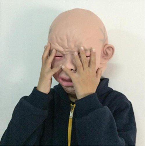 JJH-ENTER Maske Neuheit Deluxe Halloween Kostüm Party Latex Schrei Baby Latex Kopf Maske