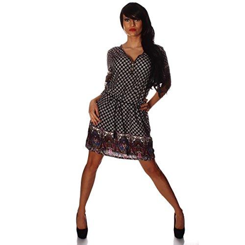 4239 Fashion4Young Damen Weich fließendes Minikleid Shirt Tunika Hemd  Reißverschluss Retro prints SchwarzWeißMuti