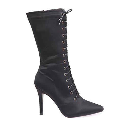 Nero Fashionista Lacci I Tacco Stivali Con La XpxqwR74aa