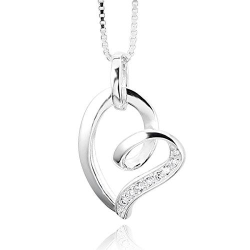 MunkiMix-925-Sterling-Silber-925-Anhnger-Halskette-Zirkonia-Silber-Herz-Lieben-Elegant-Damen-mit-46cm-Sterling-Silber-Kette