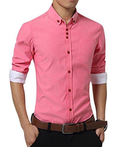Uomo slim fit camicia manica lunga casual chic tinta unita camicia rosso xxl