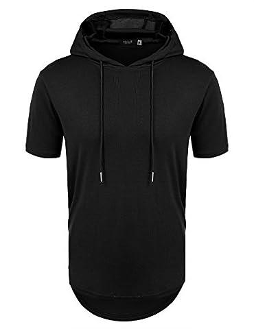 Hasuit Men's Short Sleeve Hipster Hip Hop Hoodie Side Zipper Tshirt Black M