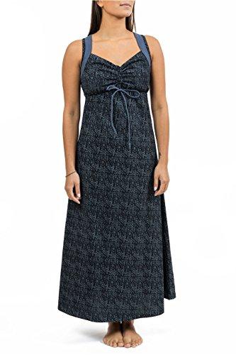 Robe longue originale ethnic print Nylah - Noir
