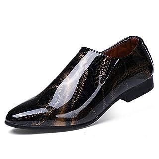 Jingkeke Herren Business Oxford Casual Persönlichkeit Zeigen Spitz Lack PU Leder Formelle Kleid Schuhe auffällig (Color : Gold, Größe : 42 EU)