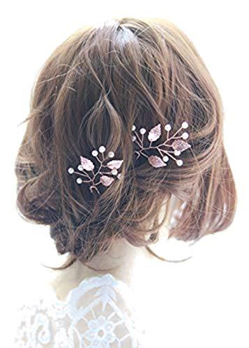 Fashion Jewery Damen Haarschmuck Accessoires Haarblumen Haargesteck Haarnadeln 2er Set 2 Stücke Tiara Diadem Blumen Blüte Braut Haarschmuck Farbe nach Wahl (Silber)