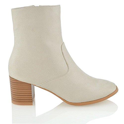 ESSEX GLAM Damen Niedrige Blockabsatz Stiefeletten Chelsea Schuhe Hautfarbe Wildlederimitat