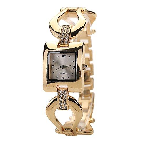 Preisvergleich Produktbild Sanwood Frauen Goldenen Armband Strassstein Square Kleid Armbanduhr