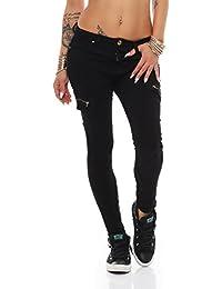 5741 Fashion4Young Damen Röhrenhose pants Treggings Leggings Damenhose Gr. 34-42