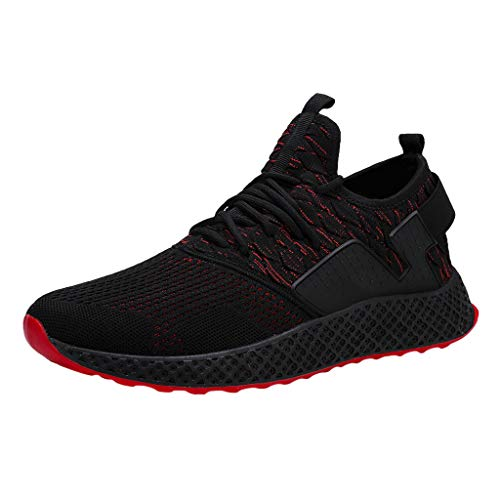 AIni Herren Schuhe,2019 Neuer Heißer Beiläufiges Mode Atmungsaktives Mesh im Freien Bequeme Laufschuhe Turnschuhe Partyschuhe Freizeitschuhe(44,Rot)