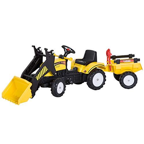 HOMCOM Tractor Pedales Excavadora Infantil Juquete de Montar con Cargador Frontal con Tráiler para Niños 3-6 Años Carga 35 kg 167×41×52cm
