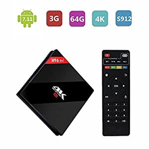 [2017 New Arrivals] H96 PRO+ Android 7.1 TV Box ,3GB RAM 64GB ROM Amlogic S912 64 bit Octo-core 4K Ultra HD TV Box ,Supports 2.4G/5G Dual Wifi 1000M LAN Ethernet Bluetooth 4.0 set top box