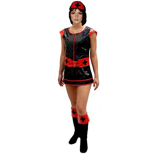 Spassprofi PVC Kostüm Krankenschwester schwarz Nurse Krankenschwesterkostüm (Pvc Krankenschwester Kostüm)