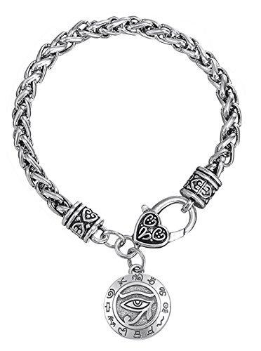 Dawapara Religiöse Ägyptischer Gottes, Der Eye Of Horus mit dem Schreiben von alten Ägypten Anhänger Weizen Kette Armband